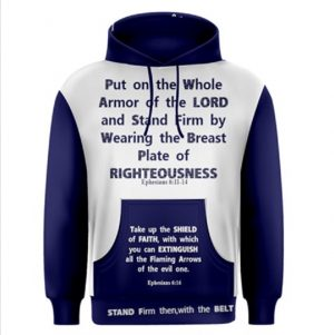 Wearing our Scripture Wear is a symbolic way of Putting on the Whole Armor of God and spreading the Word of Jesus.