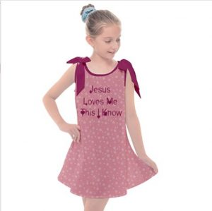 Girls' Scripture Wear Tie Up Tunic Dress made of 100% Polyester Tammy's Scripture Wear Clothing Line is your source for beautiful, wearable clothes with biblical verses such as Armor of God.
